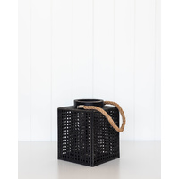 Lantern - Nantucket Lattice Lrg - Black - 18x23