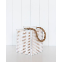 Lantern - Nantucket Lattice Lrg - White - 18x23
