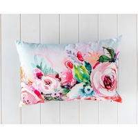Indoor Cushion- Peony Floral Embroidered Rec. - 50x30