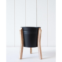 Pot/Planter - Malik Large - Tin and Timber Black - 14x18 (MIN 2)