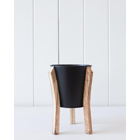 Pot/Planter - Malik Small - Tin and Timber Black - 12x17 (MIN 2)