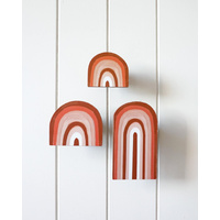 Decor - Rainbow Wooden Wall Hook - Set of 3 - Sunset - 6/8/14cm (MIN 2)