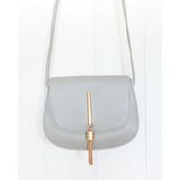 Bag- Leather Look Bag Rounded - Grey - 17x14x6cm