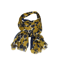 Scarf - Chartreuse/Navy Florals - 180x90cm