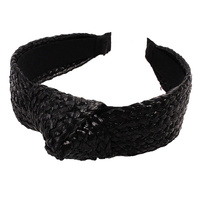 Headband - Tenisha Top Knot - Woven Black - 13.5x18 (MIN 2)