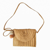 Bag - Woven Boho Rattan Rainbow Shoulder Strap Natural - Ziggy - 20x27
