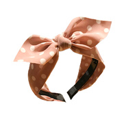 Headband - Fabric Polka Dot Bow Blush - Bianca - 12x15 (MIN 2)