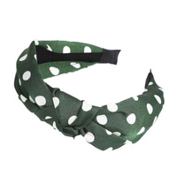 Headband - Fabric Knot Olive Polka Dot - Verity - 12x15x3 cms (MIN 2)