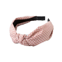 Headband - Fabric Knot Blush Polka Dot - Verity - 12x15x3cms (MIN 2)