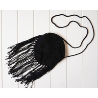 Bag - Frida Shoulder Strap tasseled - Black - 20x20