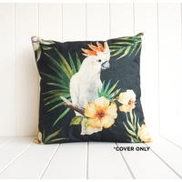 Indoor Cushion COVER - Cockatoo on Black - 45x45
