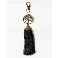Tassel Keychain - Tree of Life Brass (MIN 5) - Black