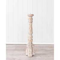 Candle Holder- Pillar Style - Natural White Wash- Small- 63cm