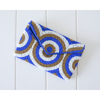 Beaded Clutch - Rosario Blue/White/Bronze - 20x13