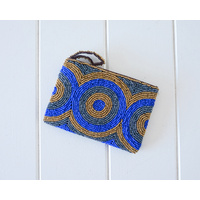 Beaded Coin Purse - Margarita Bronze/Blue - 14x13 (MIN 2)