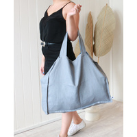 Linen Tote Bag - Large - Dusty Blue -55x 66