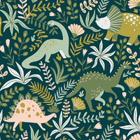 Canvas Print - Jnr. - Dino Flower Forest - 80x80