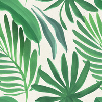 Canvas Print - Fan Palm Leaves Green A - 100x100