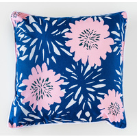 Cotton Cushion - Jnr - Camellia Pink Navy - 45x45