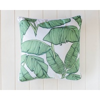 Cotton Cushion - Banana Leaves on White - 45x45