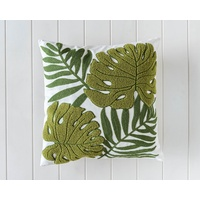 Indoor Cushion - Green Tropical Leaves Embroidered - 45x45