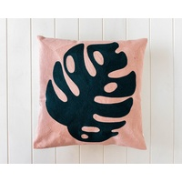 Indoor Cushion - Blush Monsteria Embroidered - 45x45