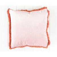 Indoor Cushion - Feather Insert - Velvet Blush with Fringe Edge - 45x45