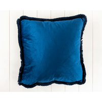 Indoor Cushion - Feather Insert - Velvet Navy with Fringe Edge - 45x45