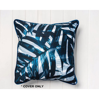 Indoor Cushion COVER - Navy Shadow Leaves - Cotton/Velvet - 45x45