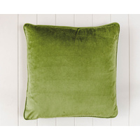 Indoor Cushion - Feather Insert - Olive Green Velvet - 50x50