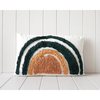 Tufted Cushion - Green/Mustard Rainbow - 50x30