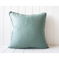Indoor Cushion - Linen Feather Insert - Sage - 50x50
