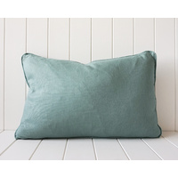 Indoor Cushion - Linen Feather Insert - Sage - 60x40