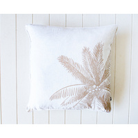 Indoor Cushion - Linen Feather Insert - Natural on White - Coconut Palm - 50x50