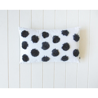 Tufted Cushion - Spots Slate on White - 50x30