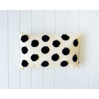 Tufted Cushion - Spots Slate on Natural - 50x30