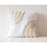 Tufted Cushion - Double Semi Rainbow Natural on White - 45x45