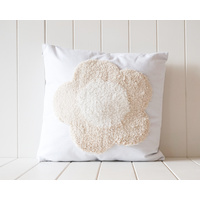 Tufted Cushion - Flower Power Natural on White - 45x45