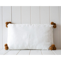 Indoor Cushion - Linen Pompom - White and  Brown- 50x30