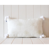 Indoor Cushion - Linen Pompom - White and White with Light Sage Palm Print - 50x30