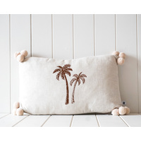 Indoor Cushion - Linen Pompom - Natural and Cream with Rust Palm Print- 50x30
