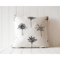 Indoor Cushion - Linen Feather Insert - Black on Natural Palm Print - 50x50