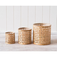 Basket Set - Rattan Woven - Natural Lined - Set of 3 - 22/17/12