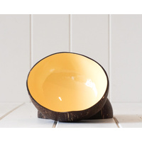 Decor Bowl - Coconut Lacquered Interior - BUTTER YELLOW - 13cm (MIN 4)