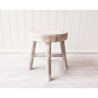 Stool - Mele Small - Timber Whitewash - 32x32x35 (MIN 2)