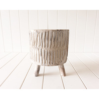 Pot/Planter - Tokoriki - Timber Medium White Wash - 22x25 (MIN 2)
