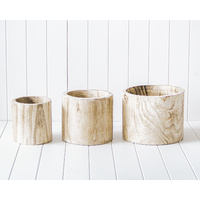 Pot/Planter - Loni Timber Natural Set of 3 - 28/23/18cm
