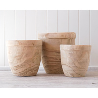 Rustic Pot/Planter - Timber Delphine - Set of 3 - 23/26/31