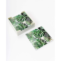 Glass Coaster - (MIN 2) Green and Gold Palms B