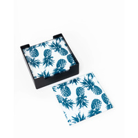 Glass Coaster - (MIN 2) Monochrome Pineapple Tropicana